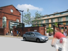 New mixed use square. Holt Town.