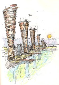 Eco Towers. Dubai Waterfront.