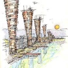 Eco Towers. Dubai Waterfront.